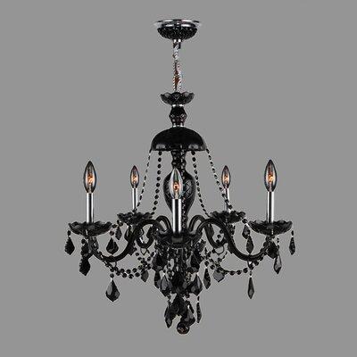 Provence 5-Light Crystal Chandelier Crystal Color: Black