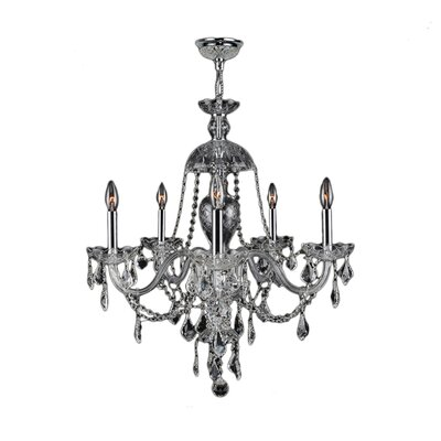 Doggett Traditional 5-Light Crystal Chandelier Crystal Color: Clear