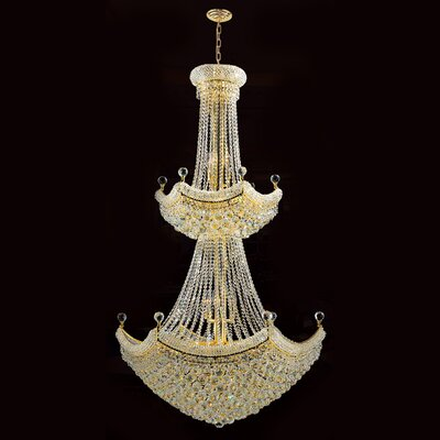 Carson 32-Light 40W Crystal Chandelier Finish: Gold