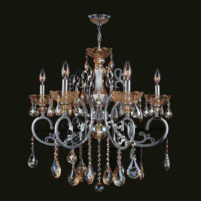Koome 6-Light Crystal Chandelier Crystal Color: Amber