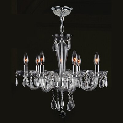 Roni 8-Light Candle-Style Chandelier Glass Color: Clear