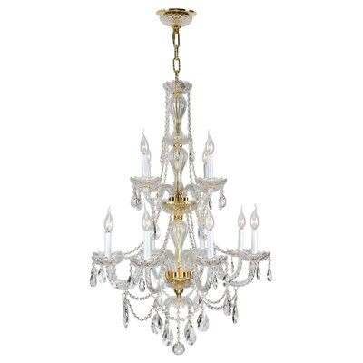 Provence 12-Light Crystal Chandelier Finish: Gold