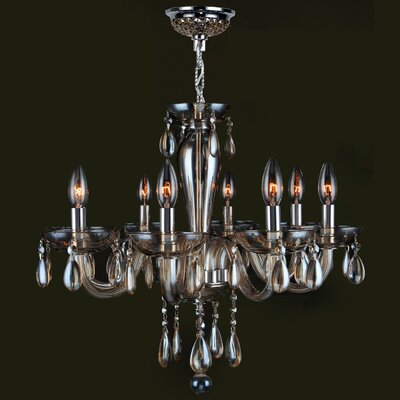 Roni 8-Light Candle-Style Chandelier Glass Color: Golden Teak