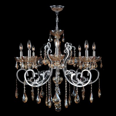 Kronos 8-Light Crystal Chandelier Crystal Color: Amber