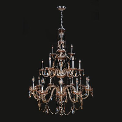 Doggett 21-Light Candle-Style Chandelier Crystal Color: Amber