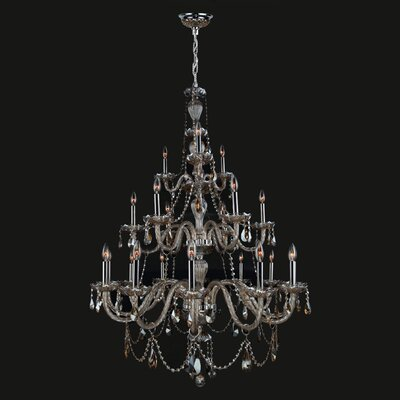Provence 21-Light Candle-Style Chandelier Crystal Color: Golden Teak