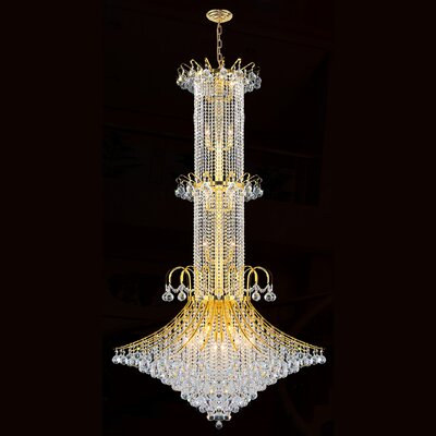 Carson 20-Light Crystal Chandelier Finish: Gold