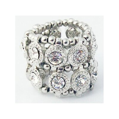 Silvertone Crystal 2-Row Disc Stretch Fashion Ring