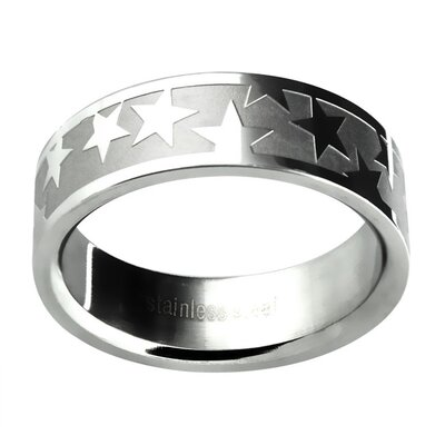 The Review Men's Etched Star Wedding Band Ring Size: 10.25 deal