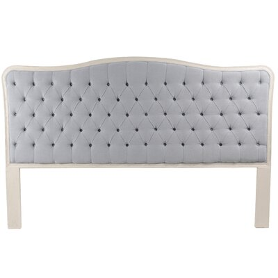 Bardot Upholstered Panel Headboard Size: King, Color: Antique White, Upholstery: Light Blue/Gray