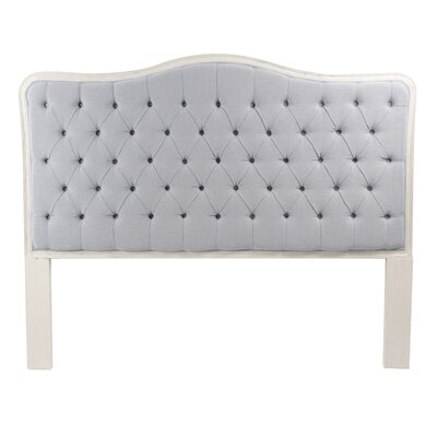 Bardot Upholstered Panel Headboard Size: Queen, Color: Antique White, Upholstery: Light Blue/Gray