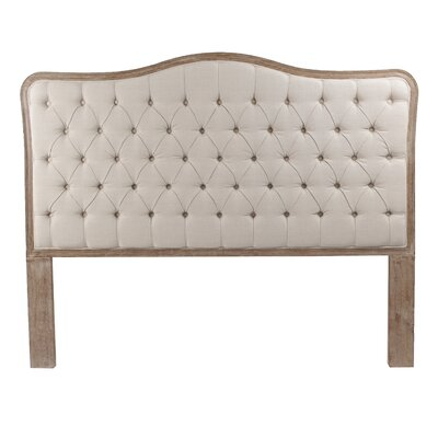 Bardot Upholstered Panel Headboard Size: Queen, Color: Brown, Upholstery: Beige