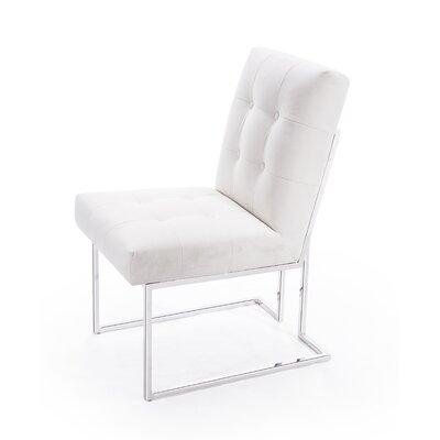 Amalfi Upholstered Dining Chair Upholstery Color: Pearl, Leg Color: Silver