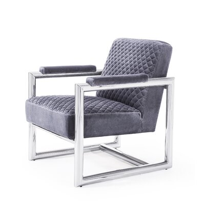 Armchair Upholstery: Gray, Finish: Silver