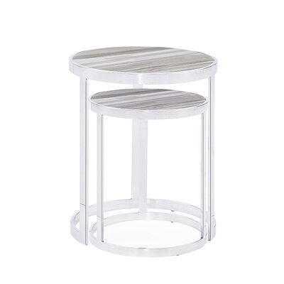 Soho 2 Piece Nesting Tables Table Top Color: White
