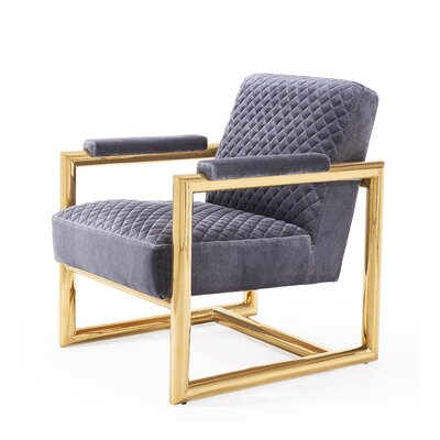 Armchair Upholstery: Gray, Finish: Gold
