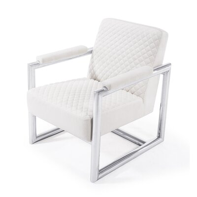 Armchair Upholstery: White, Finish: Silver