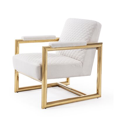 Armchair Upholstery: White, Finish: Gold