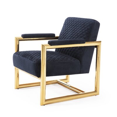 Armchair Upholstery: Black, Finish: Gold