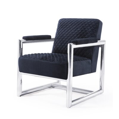 Armchair Upholstery: Black, Finish: Silver