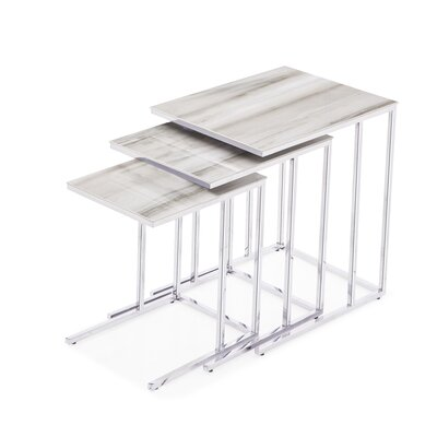 Midtown 3 Piece Nesting Tables Table Top Color: White