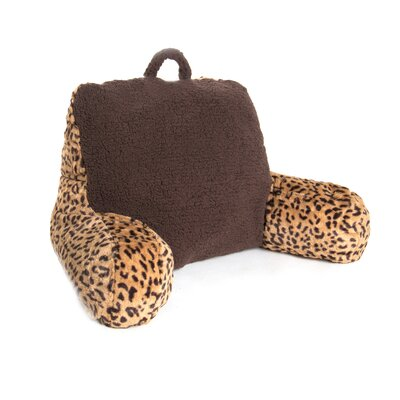 Plush Cheetah Print and Sherpa Bed Rest Polyfill Pillow