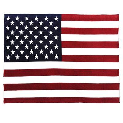 Flag Fleece Throw Blanket Color: Red/White/Bluie