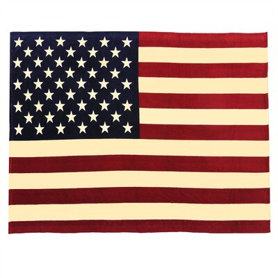 Flag Fleece Throw Blanket Color: Antique Red/White/Blue