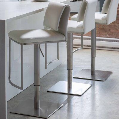 Neo Adjustable Height Swivel Bar Stool Upholstery: White