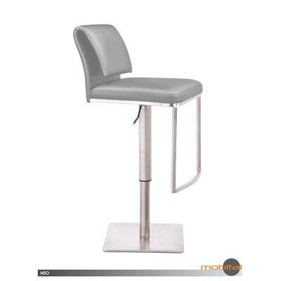 Neo Adjustable Height Swivel Bar Stool Upholstery: Light Grey