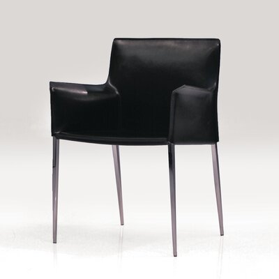 Alix Contemporary Genuine Leather Upholstered Dining Chair Upholstery: Black