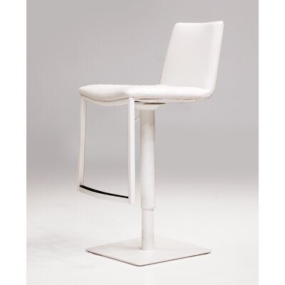 Raven Adjustable Height Swivel Bar Stool Upholstery: White