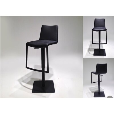 Raven Adjustable Height Swivel Bar Stool Upholstery: Black
