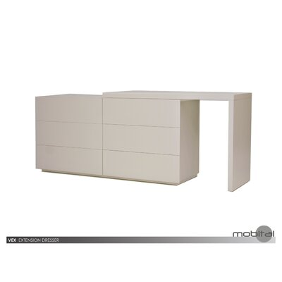 Debbi 6 Drawer Double Dresser Finish: Stone