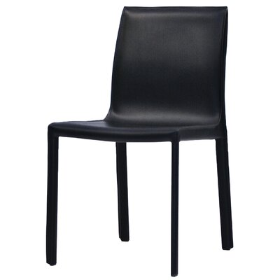 Fleur Upholstered Dining Chair (Set of 2) Finish: Black