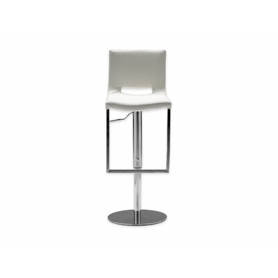 Ozar Adjustable Height Swivel Bar Stool Seat: White