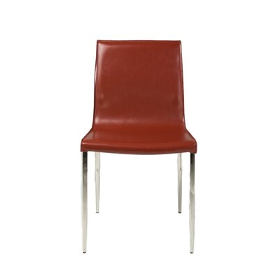 Alix Genuine Leather Upholstered Dining Chair (Set of 2) Upholstery: Oxblood