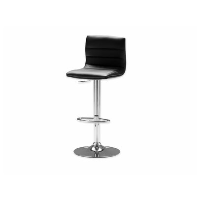 Pero Adjustable Height Swivel Bar Stool Seat: Black