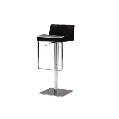 Astro Adjustable Height Bar Stool Seat: Black