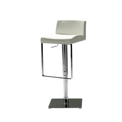 Astro Adjustable Height Bar Stool Seat: White