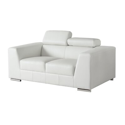 Cesca Leather Loveseat Upholstery: White