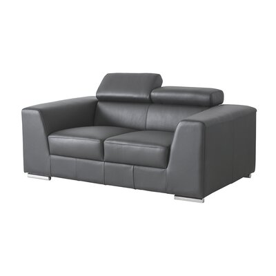 Icon Leather Loveseat Upholstery: Grey