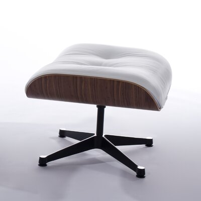 Manhattan Leather Ottoman Upholstery: White