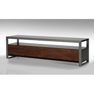Brando TV Stand Size: 18 H x 63 W x 16 D, Color: Walnut and Black