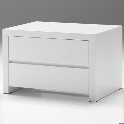 Blanche Nightstand Color: High Gloss White, Size: 16 H x 24 W x 18 D
