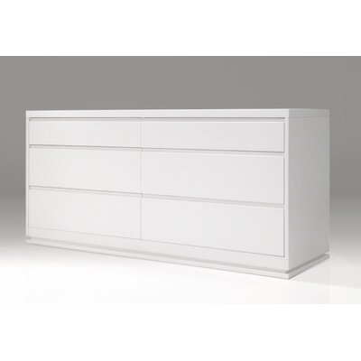 Linn 6 Drawer Double Dresser Finish: White