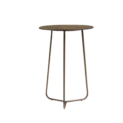 Alaskan Tall End Table with Smoked Pine and Iron Legs