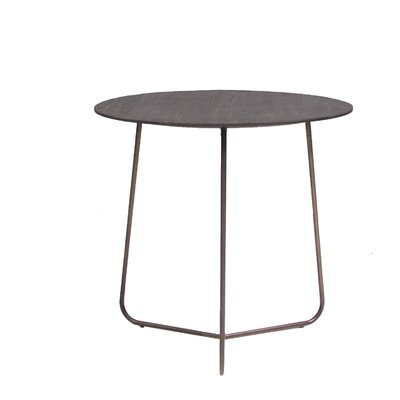 Alaskan Medium End Table with Smoked Pine and Iron Legs