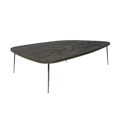 Asterope Large Coffee Table with Marble and Iron Legs Top Color: Smoked Pine