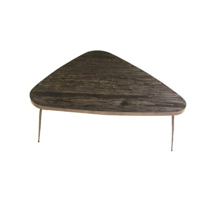 Athanas Small Coffee Table with Marble and Iron Legs Top Color: Smoked Pine